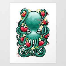 Octupus and Hearts Art Print