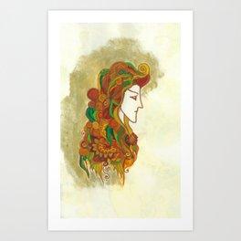 Golden Portrait Art Print