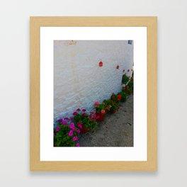 Geraniums small Village | Greece Framed Art Print