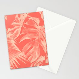 Living Coral Tropical Palm Leaves Monstera Stationery Cards