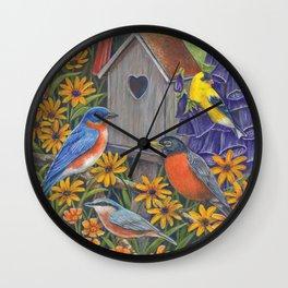 Birds and Birdhouse Wall Clock