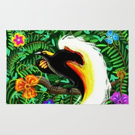 Paradise Bird Fire Feathers Rug