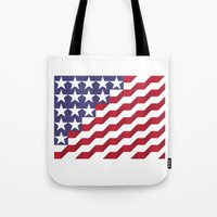 american flag Tote Bags featuring American Flag by Mychal Diaz