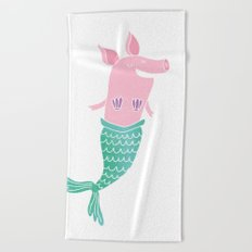 Mermaid Pig Beach Towel
