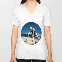 chicken V-neck T-shirts featuring Chicken by Cs025