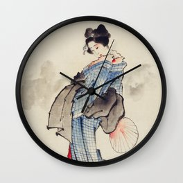 Japanese Ukyio-e style illustration of a Japanese woman in kimono,  Japan old art Wall Clock