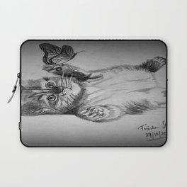 Kitten catching the butterfly Laptop Sleeve