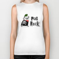 hiphop Biker Tanks featuring Pug Rock by gemma correll