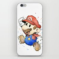 mario iPhone & iPod Skins featuring Mario Watercolor by Olechka