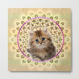 Sweet Kitty Cat Mandala Metal Print