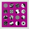 Purple Delight - Black And White Eclectic Random Designs On A Purple Background by printpix