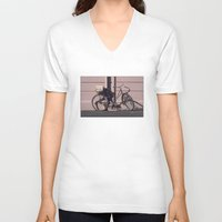 1984 V-neck T-shirts featuring PARIS BIKE 1984 by Bruce Stanfield