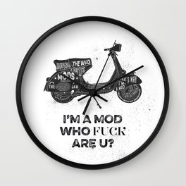 Vespa, mods, calligraphy, graphic Wall Clock