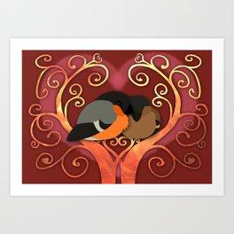 Valentine Bullfinches Art Print