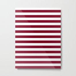 Narrow Horizontal Stripes - White and Burgundy Red Metal Print