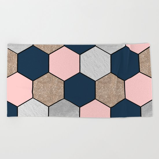 Navy and peach marble and foil hexagons Beach Towel