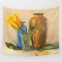 Yellow Rose with Brown Vase Wall Tapestry