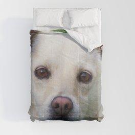 Blond dog portrait Comforters