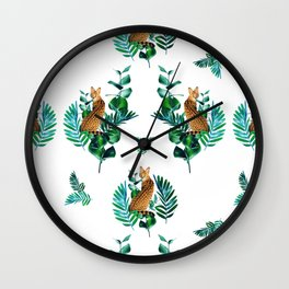 Tropical Leaf Clouded Leopard Pattern White BG Wall Clock