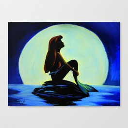 Mermaid in the moonlight Canvas Print