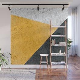Modern Yellow & Black Geometric Wall Mural