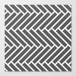 Dark gray and white herringbone pattern Canvas Print