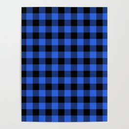 Royal Blue and Black Lumberjack Buffalo Plaid Fabric Poster