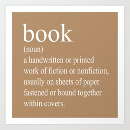 Book Definition (White on Tan) Art Print