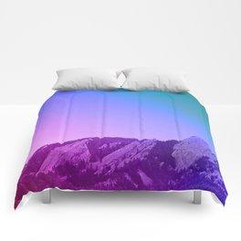 Boulder Colorado Flatirons Decor \\ Chautauqua Park Purple Pink Blue Green Nature Bohemian Style Art Comforters