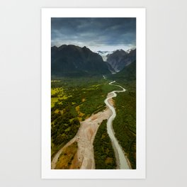 New Zealand - Flying through the Fox Glacier valley Art Print