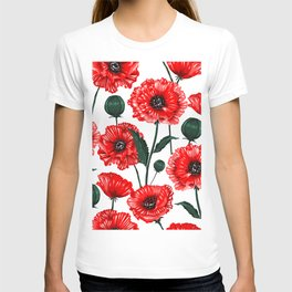 Red Summer Poppies Flowers T-shirt