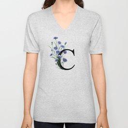 Letter 'C' Cornflower Typography Unisex V-Neck