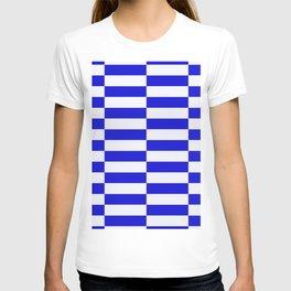 Blue And White Rectangular Checkered Pattern T-shirt