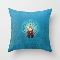 ed sheeran Throw Pillows featuring Ed Elric by MythicPhoenix