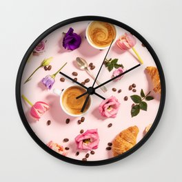 Morning coffee, croissants and a beautiful flowers Wall Clock