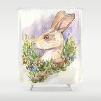 hare Shower Curtains featuring Hare by Jen DesRoche