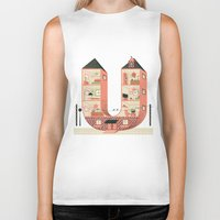 letter Biker Tanks featuring Letter U by Margarida Esteves