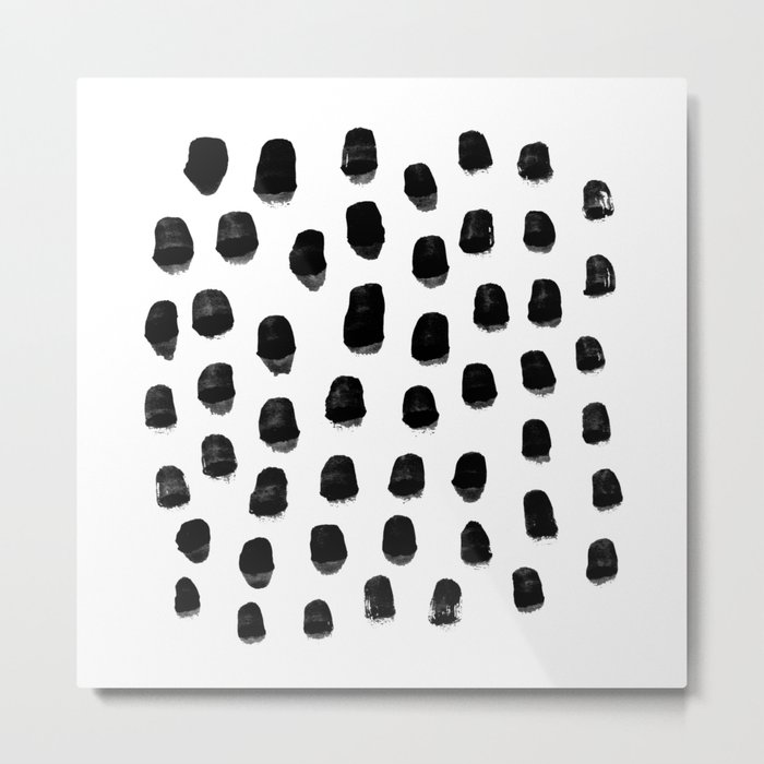 Kady - black and white ink spot minimal scandinavian pattern art hipster Metal Print