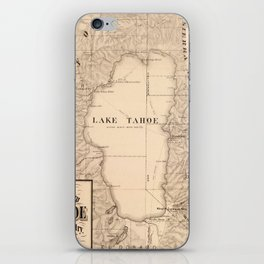 Vintage Map of Lake Tahoe Calfornia (1874) iPhone Skin