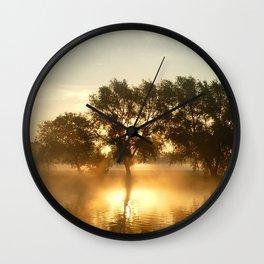 river, horizon, dawn, silence Wall Clock