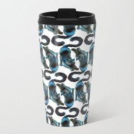 Black Blue Cat Stretching Drawing  Metal Travel Mug