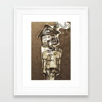 cartoons Framed Art Prints featuring Saturday Morning Cartoons 1: Homebody by Kayleigh Morin