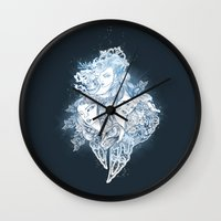 mermaids Wall Clocks featuring Mermaids by Ana Gomez Bernaus