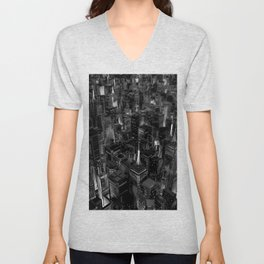 Night city glow B&W / 3D render of night time city lit from streets below in black and white Unisex V-Neck