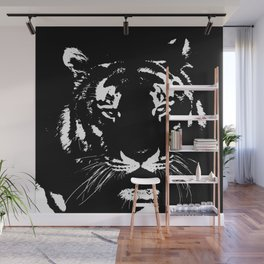 Black n white tiger Wall Mural
