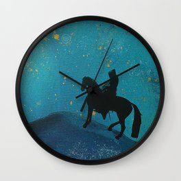 Knight in blue in the starry night Wall Clock