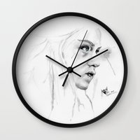mother of dragons Wall Clocks featuring Mother of Dragons  by Inks. MD