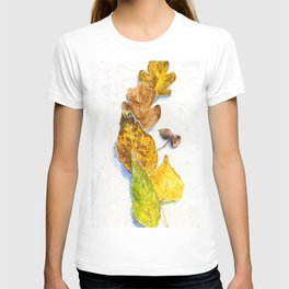 autumn leaves (watercolor on textured background) T-shirt