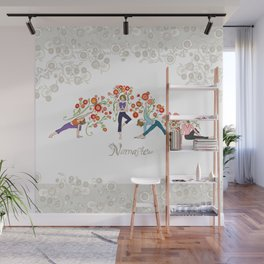 Yoga Girls_Namaste_Poses and Flowers Large scale Wall Mural