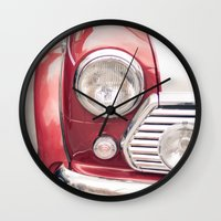 mini cooper Wall Clocks featuring Red Mini Cooper by Oy Photography